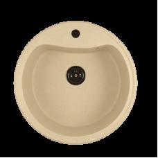 Мойкa ML-GM09 круглая, бежевая (328), 490мм (глуб. чаши 185)