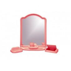 Набор для ванной комнаты с зерк АЛИСА (6 пред) розовый