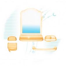 Набор для ванной комнаты с зерк АЛИСА (6 пред) беж/крем