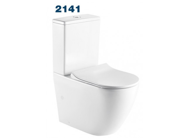 2141 Azario Grado напольный безободковый унитаз в комплекте с бачком и сидением микролифт и арматурой. Размер 665*380*845 мм. (2 МЕСТА)
