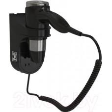 Фен для волос Puff-1600BLB настенный 1,6кВт черный, с доп. розеткой, 2 скорости
