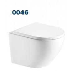 0046 Azario Grado подвесной безободковый унитаз в комплекте с сидением микролифт. Размер 490*370*360 мм.