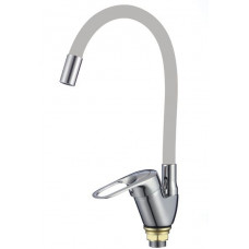 FM4104-04 Смеситель для кухонной мойки с гибким цветным изливом (цвет излива серый)/Хром