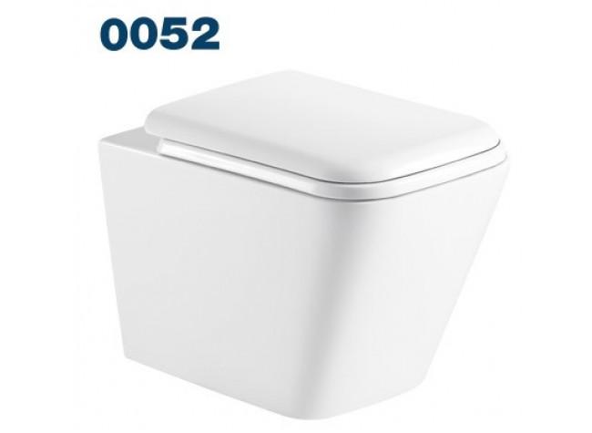 0052 Azario Teramo (квадратный) подвесной безободковый унитаз в комплекте с сидением микролифт. Размер 490*340*350 мм.