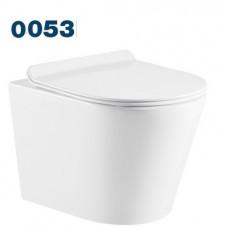 0053 Azario Teramo (круглый) подвесной безободковый унитаз в комплекте с сидением микролифт. Размер 515*355*365 мм.
