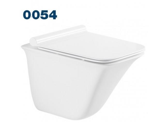 0054 Azario Felice подвесной безободковый унитаз в комплекте с сидением микролифт. Размер 505*360*370 мм.