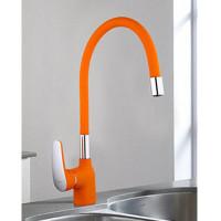 4453-02 Смеситель для кухни Frap d-35 на гайке МАКСИ (оранжевый/хром)